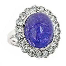 17.09 carat Tanzanite Ring with White Diamonds and 14K Gold