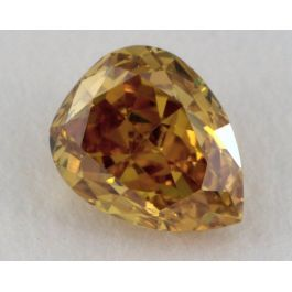 0.37 Carat, Natural Fancy Deep Brownish Orangy Yellow, Pear Shape, I1 Clarity, GIA