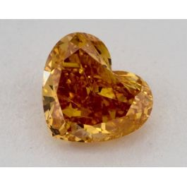 0.83 Carat, Natural Fancy Intense Yellow-Orange, Heart Shape, I1 Clarity, GIA