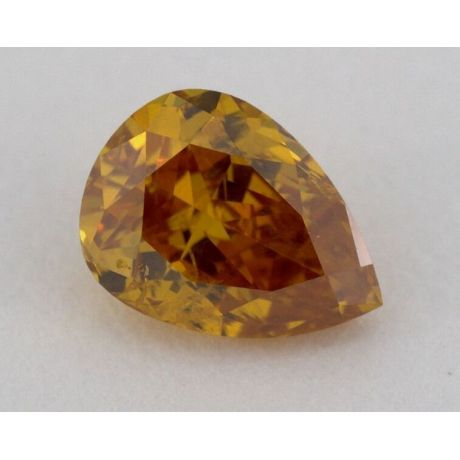 0.55 Carat, Natural Fancy Deep Yellow-Orange, Pear Shape, I1 Clarity, GIA