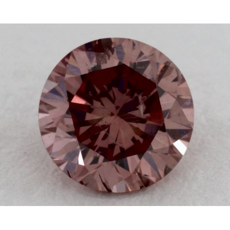 0.57 Carat, Natural Fancy Deep Orangy Pink, Round Shape, I1 Clarity, GIA