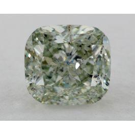 2.04 Carat, Natural Fancy Green, Cushion Shape, I1 Clarity, GIA