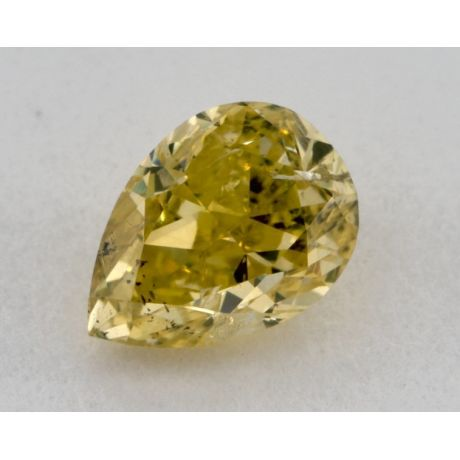 0.47 Carat, Natural Fancy Intense Greenish Yellow, Pear Shape, SI1 Clartiy, GIA