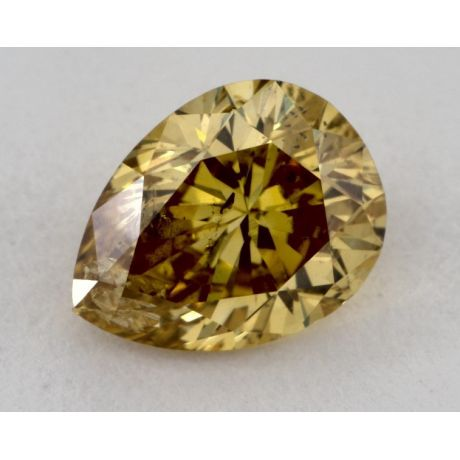 0.70 Carat, Natural Fancy Deep Orangy Yellow, Pear Shape, I1 Clarity, GIA